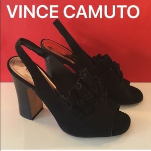 ⭐️VINCE CAMUTO RUFFLE BLOCK HEELS 💯AUTHENTIC